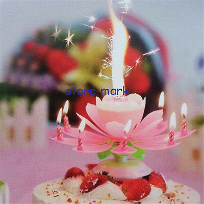 Pink Romantic Rotatable Lovely Musical Blossom Lotus Flowers Birthday Candle Hot