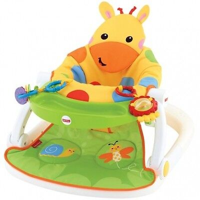 Fisher-Price Giraffe Sit Me Up Floor Seat With Tray Foldable Travel Baby Seat