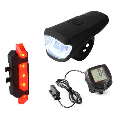 Mountain Bike Front Head Light USB Rechargeable + Tail Lamp + Speedometer CS519