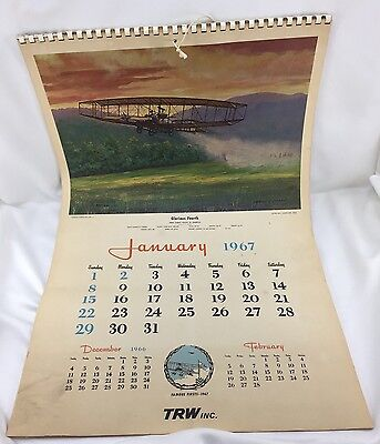"""1967 (Same as 2017) TRW Calendar - 16½""""x26"""", 12 Pages of C. HUBBELL Aviation Art"""