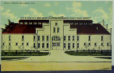 VINTAGE EARLY 1900's COLOR POSTCARD - SOUER'S & STABLE, HUNTINGTON, INDIANA