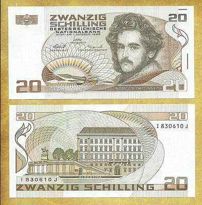 Austria 20 Schilling 1986 Series I/J P-148 Unc Currency Note ***USA SELLER***