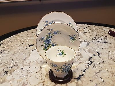 "Vintage Royal Albert  ""forget Me Not"" Footed Cup And Saucer Trio"