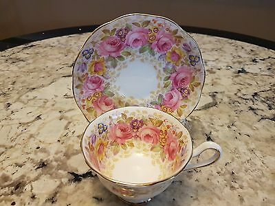 "Royal Albert Large  Footed Wide Mouth Cup Saucer ""serena"" Pink Roses"