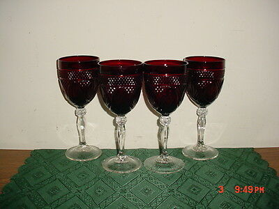 """4-Pc Cristal D'arques Durand Deep """"ruby Red"""" Crystal 8"""" Wine Goblets/clearance!"""