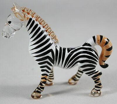 Zebras Wild Animal Handmade Figurine Mini Hand Blown Glass Craft Zoo Stand Gift