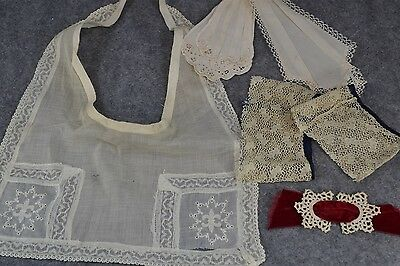 collar dicky cuffs needle lace group 4 white Victorian Edwardian antique 1800