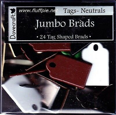 JUMBO TAG SHAPED BRADS - Colour Choices - Dovecraft