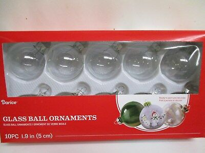 """Lot of 10 Clear Round Glass Ball Shaped Ornaments 1.9"""" DIY crafting fillable"""