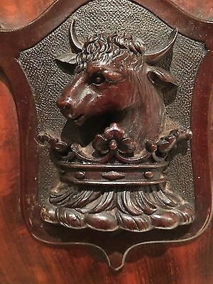19th Century Mahogany Small Carved Shield , Bull Head And Crown
