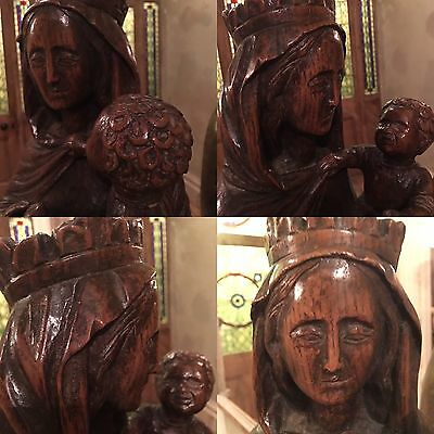 18th Century Carved Oak Madonna and Child