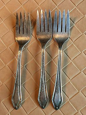Vintage Continental TWO Pattern 1886 Salad Forks Silver Plate