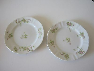 """Pink Antique Floral Syracuse O.P.CO. China 2 Salad Plates 7 1/4"""""""