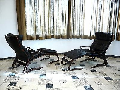 1 of 2 Scandinavian Leather Lounge Chair & Ottoman HOVE MØBLER Ledersessel 1970s