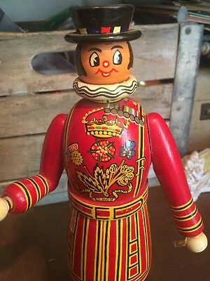 """Vintage Hand Painted Wooden Wood Beefeater Gin 12"""" Tall Figure Bar Display"""