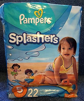 PAMPERS Splashers SWIM Diapers Pants Size 5   30-40 lbs Package of 22