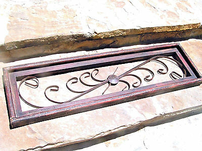 Scrolled iron in wood frame Wall Hang topper pediment 1041
