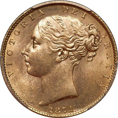 Great Britain 1871 Victoria Gold Sovereign Shield w/Die Number 31 PCGS MS-64