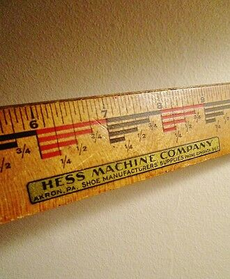 HESS MACHINE COMPANY, Shoe Manufacturers Supplies, AKRON PA - Vintage Ad Ruler