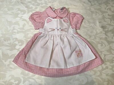 Vintage Kitty Cat Apron Dress Infant 3 / 6 Months Pink Gingham Meow Bow Tawil