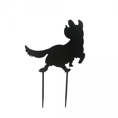 Dog Garden Stake Puppy Ornament Metal Lawn Sculpture Art Silhouette Decor 38cm