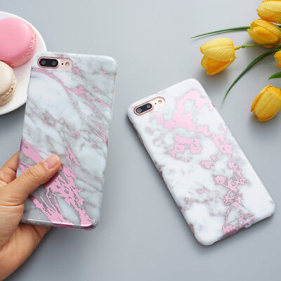 Shockproof for iPhone X 8 6 7 TPU Marble Printed Glitter Case Silicone Cover