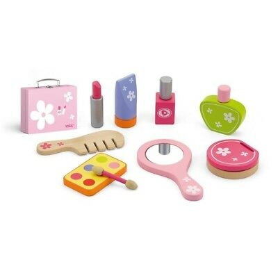 BEAUTY Make-up COSMETICS SET in Travel Pink Vanity CASE WOODEN KIDS Toy - 9 pcs