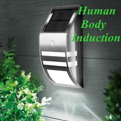 2x Stainless Steel Solar LED Induction Wall Lamp Solar Garden Outdoor Wall Light