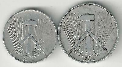 2 OLDER COINS from EAST GERMANY - 1 & 5 PFENNIGS (BOTH DATING 1952)