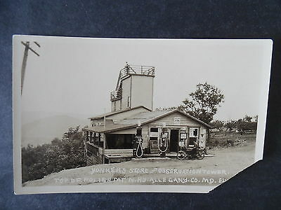 RP Maryland Roadside Tower Store Gas Station Motorcycle 1920s Postcard As-Is