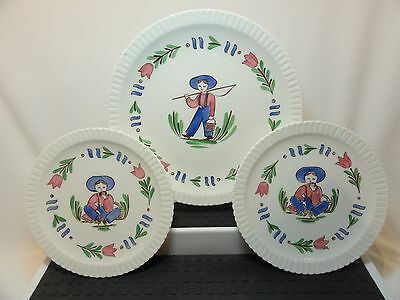 "3 Vintage Syracuse China Shelledge 'Lancaster' Plates 1- 8"" dessert, 2- 6 ¼"" B&B"