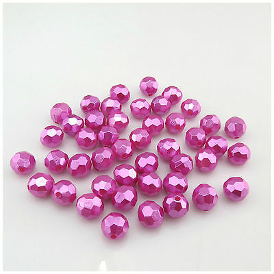 8mm Hot Pink Acrylic Plastic Faceted Bicone Beads A5337 25g
