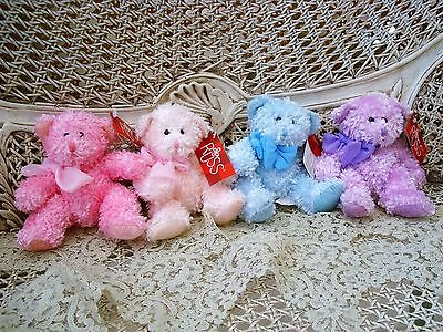 """Russ Berrie Set Of Four 7"""" Sparkling Plush Bubbles Teddy Bears *so Pretty* New"""