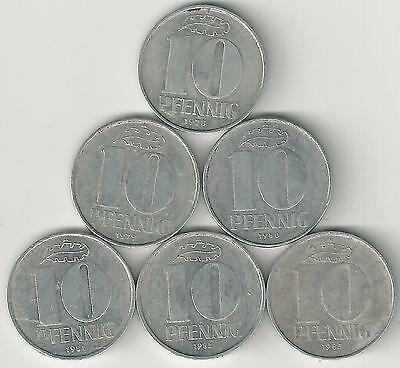 6 - 10 PFENNIG COINS from EAST GERMANY with CONSECUTIVE DATES OF 1978-1983