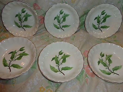 ~ Vintage ~ W.s. George China~Flowered~ Gold Trim~6 Small Dessert Bowls~