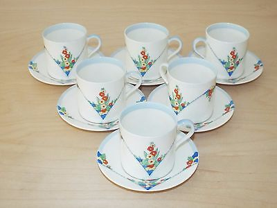 6 Royal Doulton LEONORA Coffee Cups and Saucers