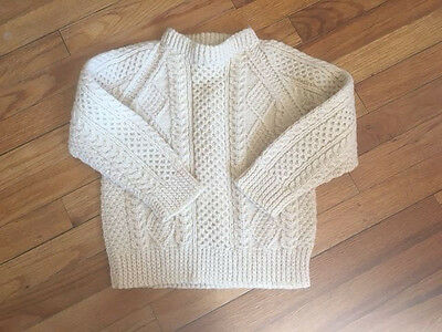 An Pucan Aran Cable Knit Cream Fisherman Ireland Girl Boys Kids Wool Sweater