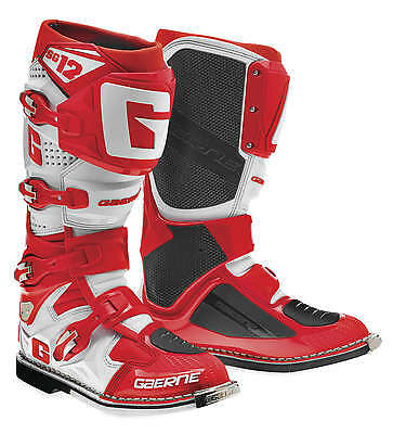 Gaerne SG-12 Leather Motocross MX Riding Boots [Red/White, Size 9]