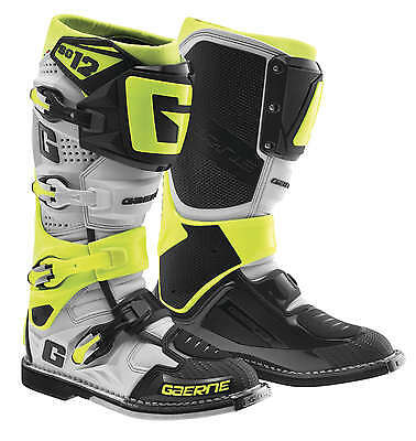 Gaerne SG-12 Leather Motocross MX Riding Boots [LE White/Grey/Yellow, Size 11]