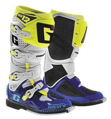 Gaerne SG-12 Leather Motocross MX Riding Boots [LE White/Blue/Yellow, Size 14]