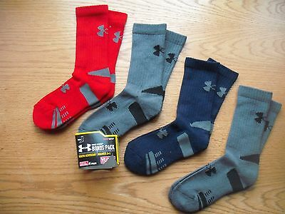 Boys NWT Under Armour Crew Socks 4prs Red Navy Gray BONUS Pack YLG Ages 8-11