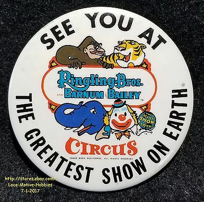 LMH Pin Button Brooch RINGLING BARNUM BAILEY CIRCUS Brothers SEE YOU AT GREATEST