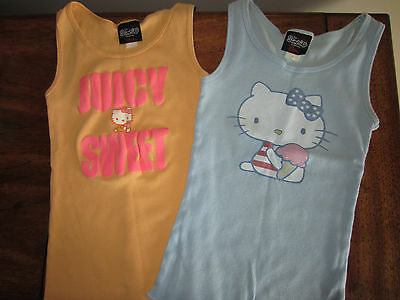 Lot Of 2 SANRIO Vintage HELLO KITTY Ribbed Tank Tops Juniors M Glitter Graphics