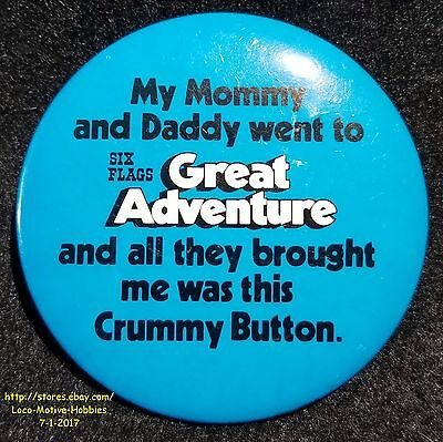 """LMH Pin Brooch  SIX FLAGS GREAT ADVENTURE  Mommy Daddy Brought Crummy Button 3"""""""