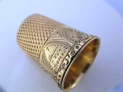 14K Gold THIMBLE w/ wonderful engraved patterns Minnie to Annie size 7