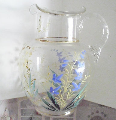 Antique hand painted Victorian Art Glass Pitcher