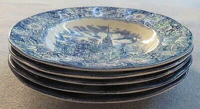 Set of FIVE Staffordshire Liberty Blue Flat Rim Soup Bowls Made in England