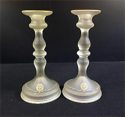Frosted Glass Candlesticks--1930's--Gold Trim with Floral Deco Under Bottom--BIN