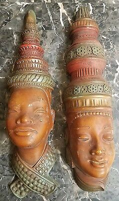 Pair of 1950's Chalkware Tribal Man & Woman Large Wall Sculptures