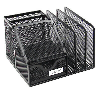 Office Organizer Desktop Mesh Sorter Supplies Desk Tray Storage File Holder Rack